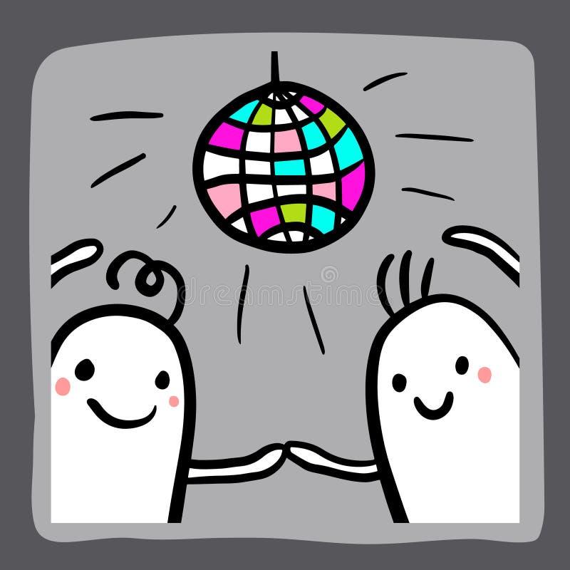 Koppla ihop av marshmallower som dansar den utdragna illustrationen för handen för klistermärkedesign stock illustrationer