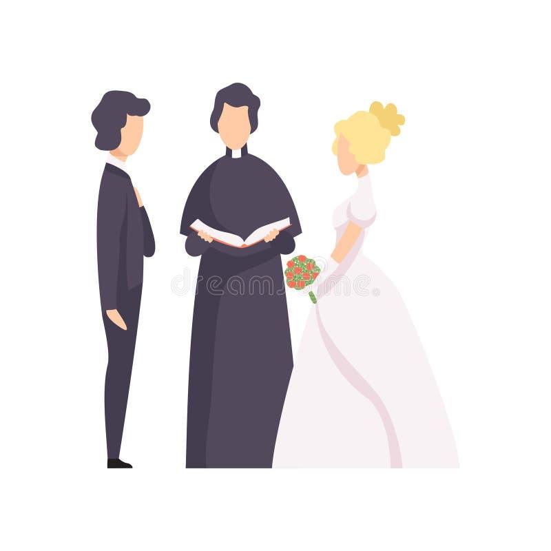 Koppla ihop av nygifta personer och prästen som fungerar illustrationen för vektorn för bröllopceremoni på en vit bakgrund royaltyfri illustrationer