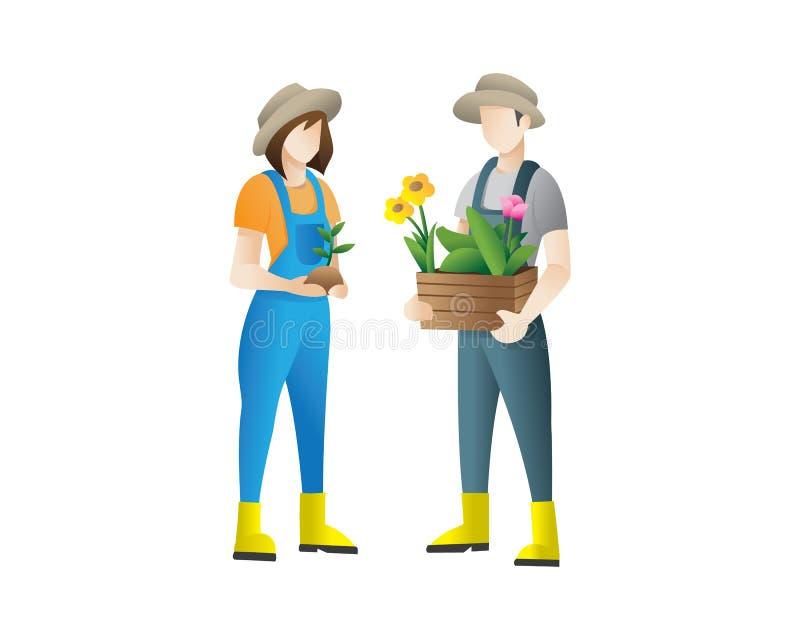 Koppla ihop av plan illustration för trädgårdsmästarevektorbegrepp stock illustrationer