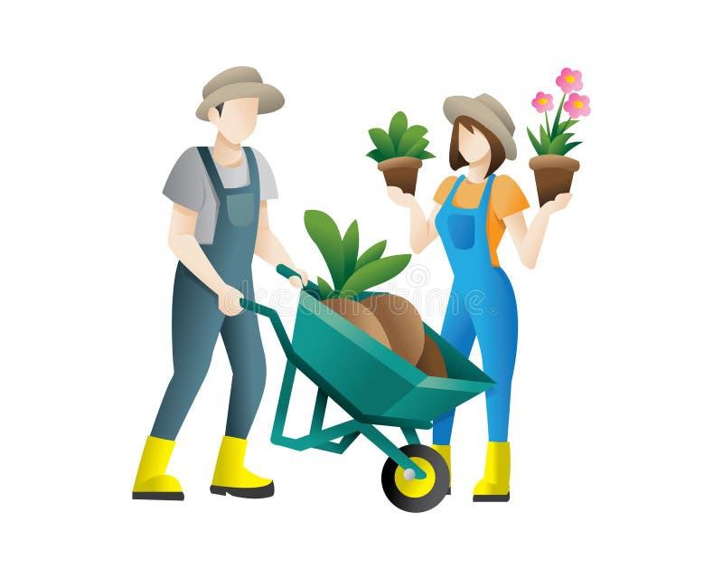 Koppla ihop av plan illustration för trädgårdsmästarevektorbegrepp royaltyfri illustrationer