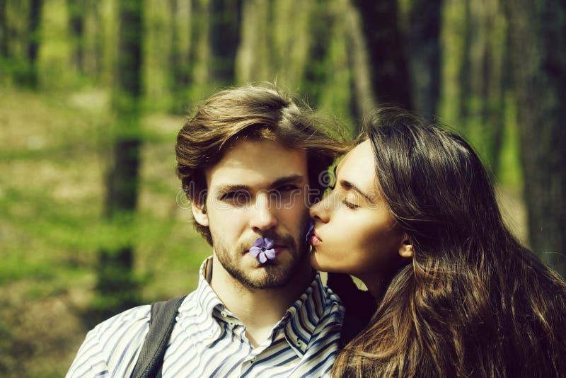 Koppla ihop den förälskade sexiga flickan som kysser den stiliga mannen på kind arkivbilder