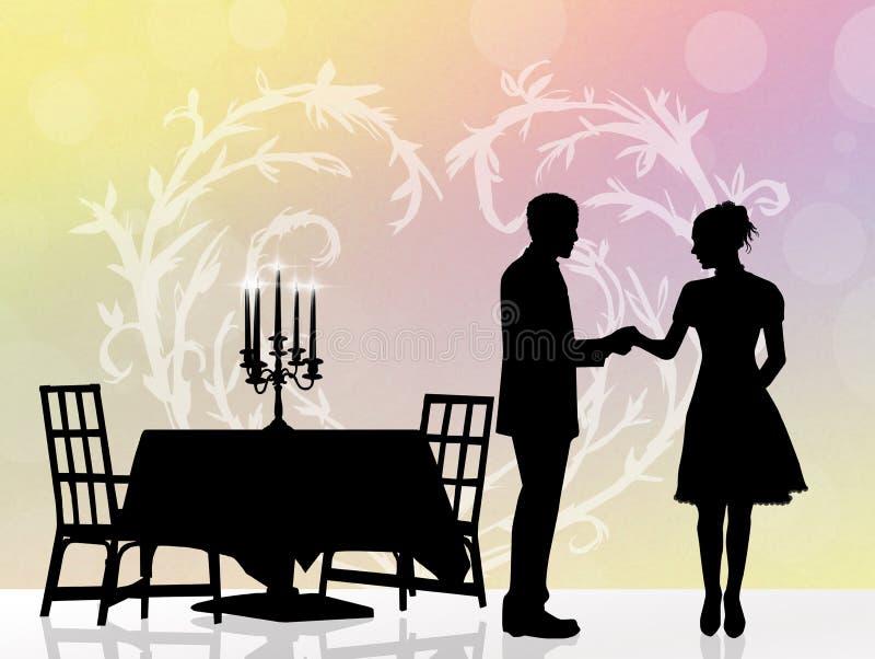 Koppla ihop den romantiska matställen royaltyfri illustrationer