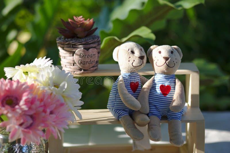Koppla ihop dockan för nallebjörnen som sitter på trähylla arkivbilder