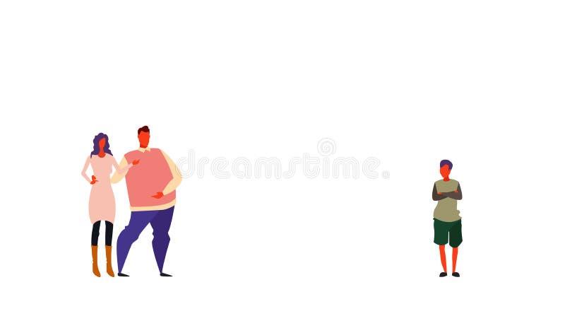 Koppla ihop föräldrar som står se tillsammans sonen som vikta händer poserar familjmoderfadern och den fulla längdtecknade filmen vektor illustrationer