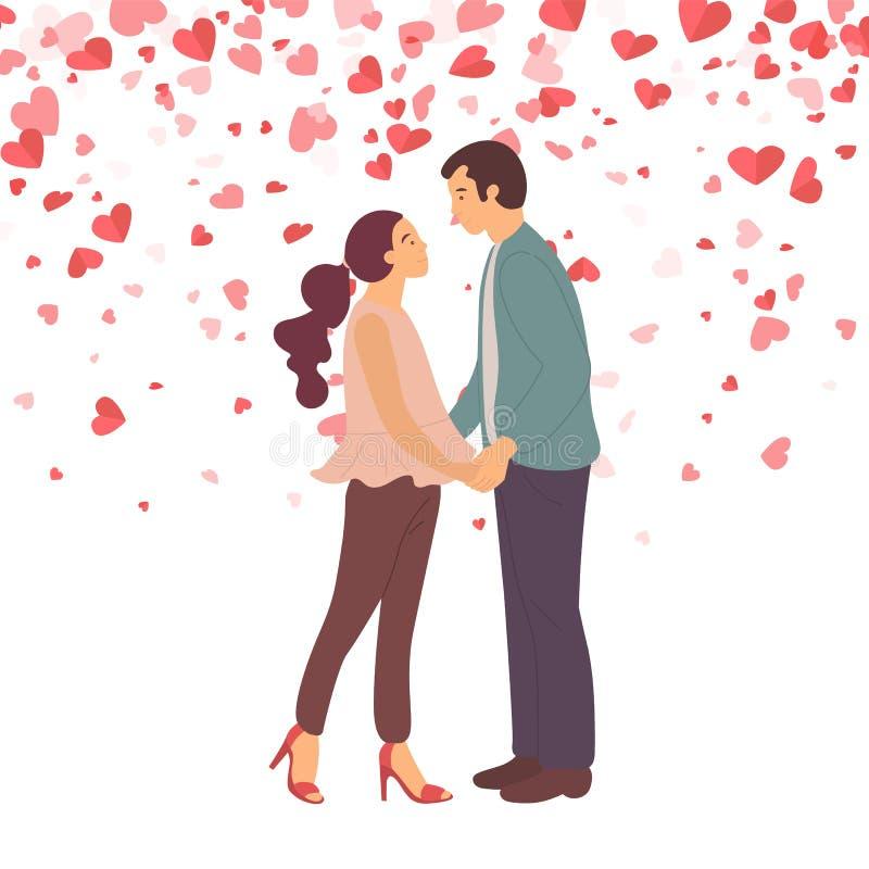 Koppla ihop förälskat gå att kyssa, damen och Guy Vector royaltyfri illustrationer