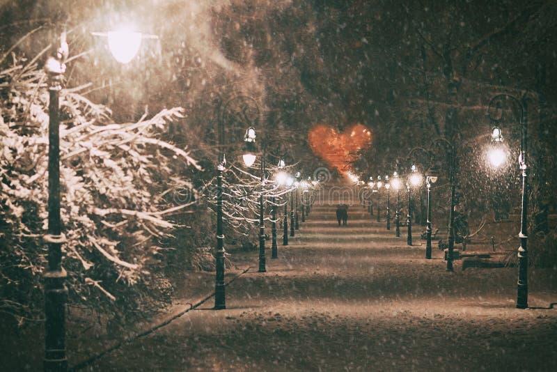 Koppla ihop förälskat på ett romantiskt datum går till och med den snöig nattvintern parkerar gränden med härliga lyktor som täck arkivfoto