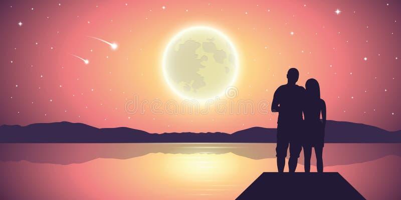 Koppla ihop förälskat på sjön med fullmånen och purpurfärgat landskap för fallande stjärnor stock illustrationer