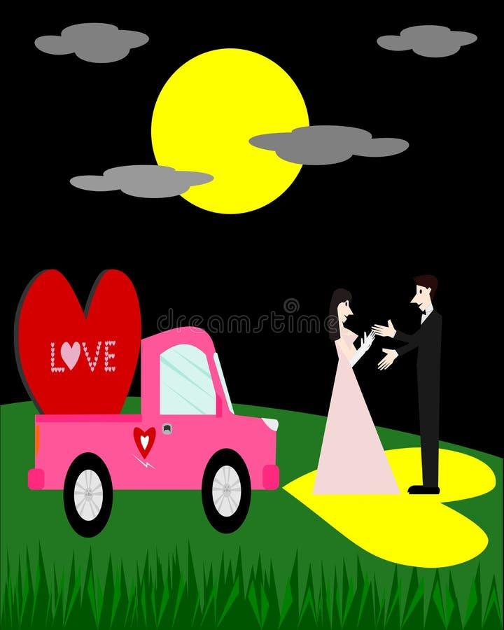 Koppla ihop förälskelse och röd hjärta på den rosa bilen på natten royaltyfri illustrationer