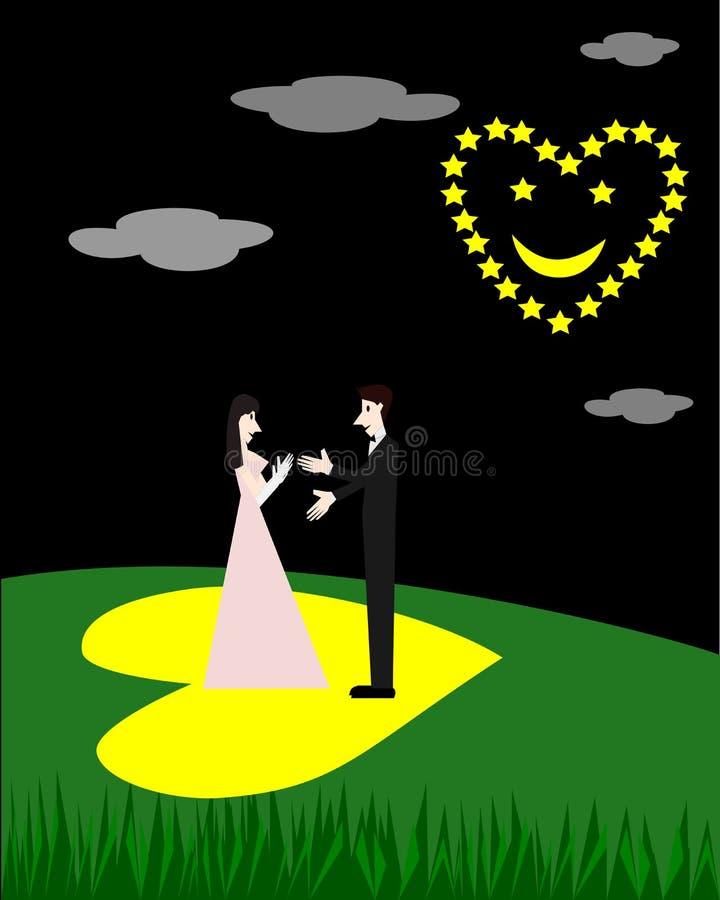 Koppla ihop förälskelse och stjärnor som är ordnade ett hjärtaleende på natten vektor illustrationer