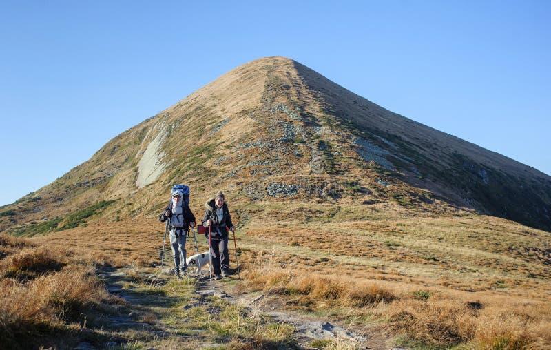 Koppla ihop fotvandrare i de Carpathians bergen med ryggsäckar royaltyfri bild