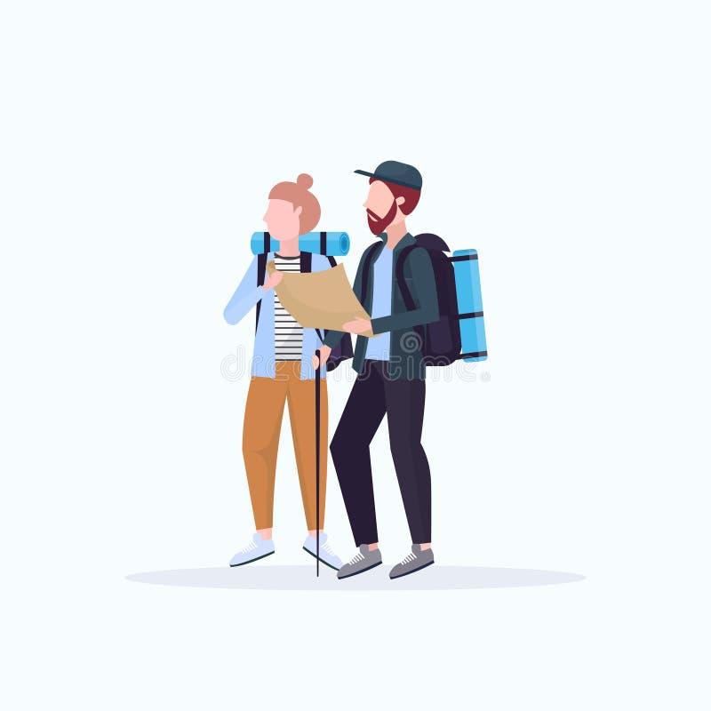 Koppla ihop fotvandrare med ryggsäckar som rymmer kvinnan för loppöversiktsmannen som planerar rutten som mycket fotvandrar begre vektor illustrationer