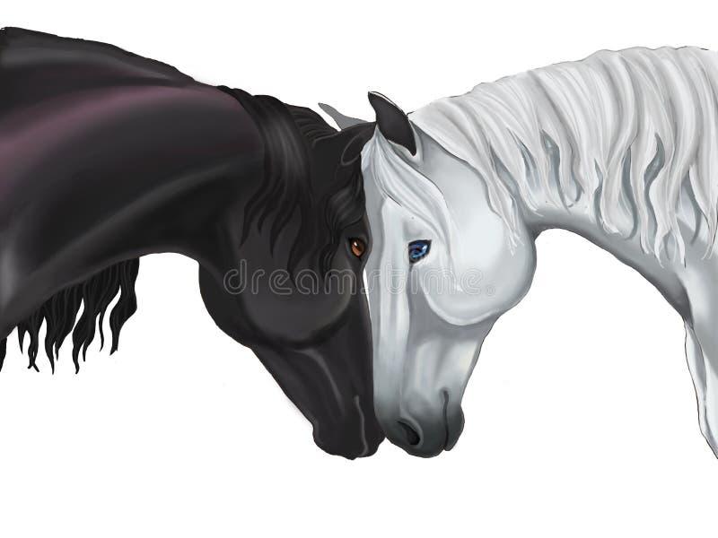 Koppla ihop hästen som delar deras förälskelse vektor illustrationer