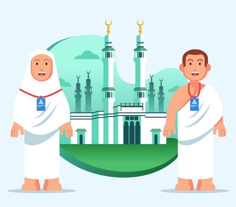 Koppla ihop hajjen vallfärdar på den stora moskén av Mecka stock illustrationer