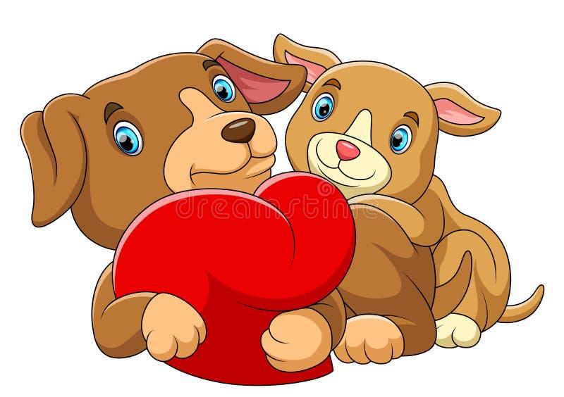 Koppla ihop hunden som är förälskad med en röd hjärta stock illustrationer