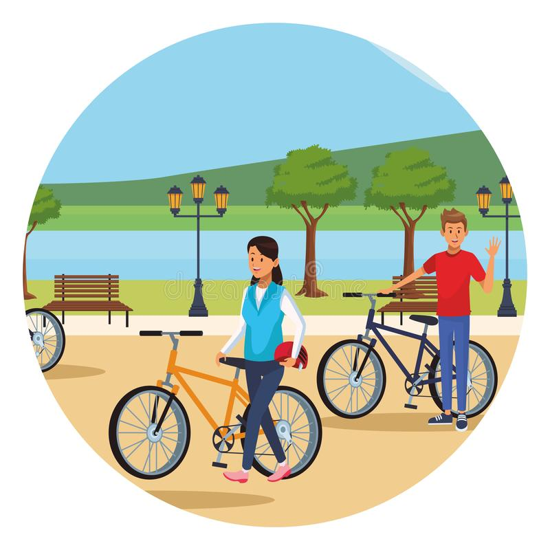 Koppla ihop i bicicles vektor illustrationer