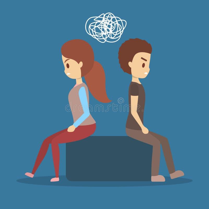 Koppla ihop i en konflikt Mannen och kvinnan ser inte de stock illustrationer