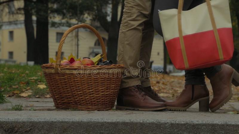 Koppla ihop i utomhus- med picknickkorgen som kysser Kvinnan lyfter hennes ben Stående det fria för man och för kvinna eller i pa arkivbild