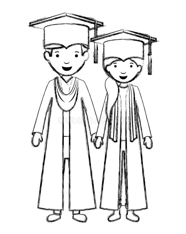 Koppla ihop kandidater med hattar royaltyfri illustrationer