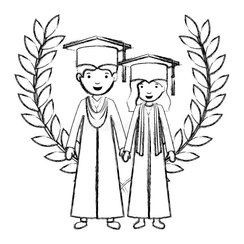 Koppla ihop kandidater med kranskronan stock illustrationer