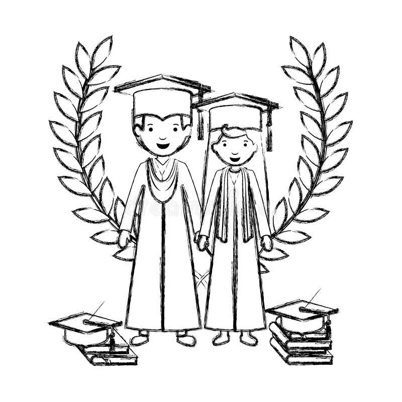 Koppla ihop kandidater med kranskronan vektor illustrationer