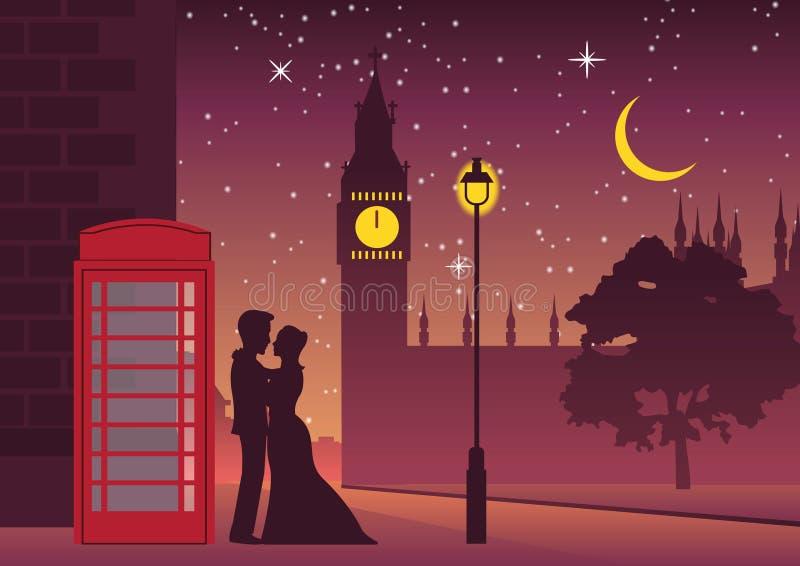 Koppla ihop kramen nära telefonasken på den Big Ben gränsmärket av London stock illustrationer