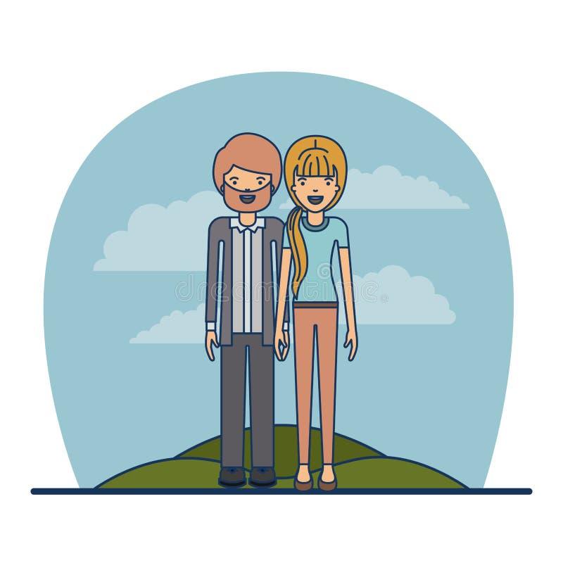 Koppla ihop lärareyrket av den skäggiga mannen med mustaschen och kvinnan med blonded hästsvanshår i äng på himmellandskap vektor illustrationer