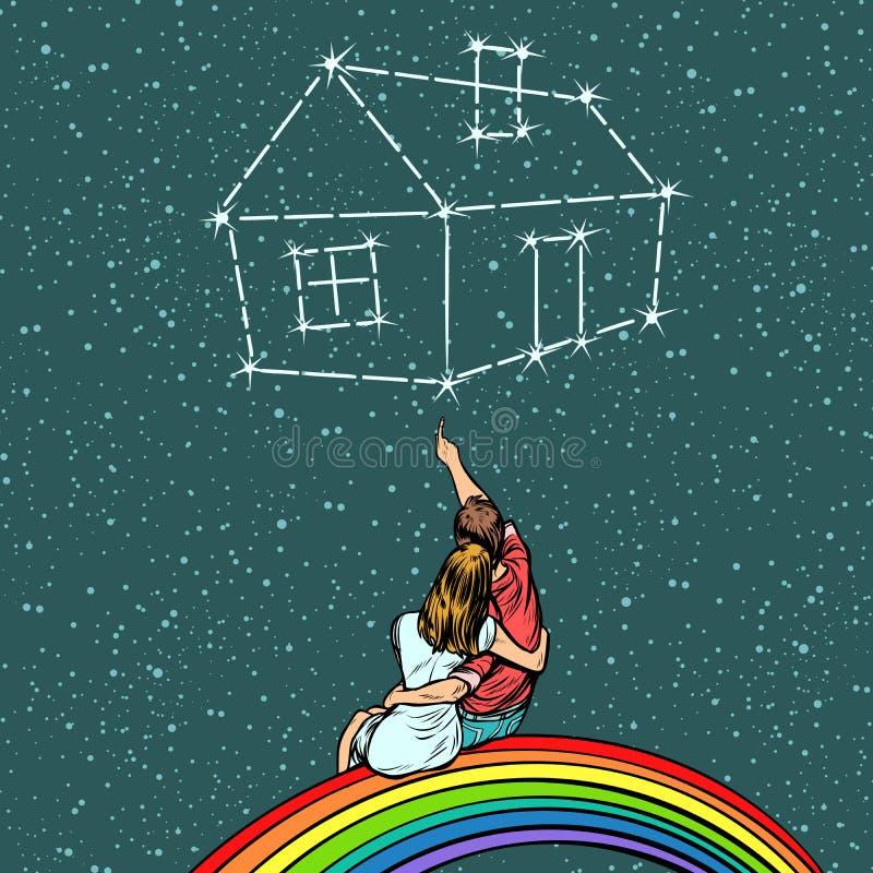 Koppla ihop mannen och kvinnan som drömmer av ett hus royaltyfri illustrationer