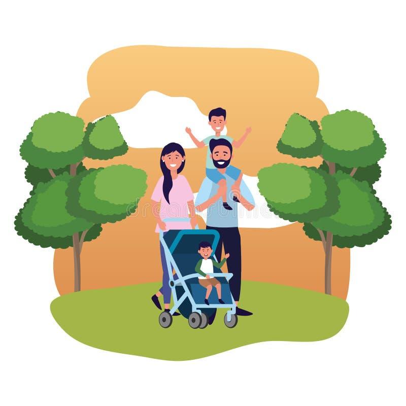 Koppla ihop med barnvagn vektor illustrationer