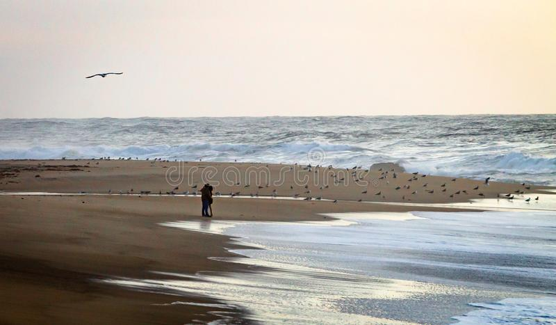 Koppla ihop omfamningar på stranden nära vattnet royaltyfri foto