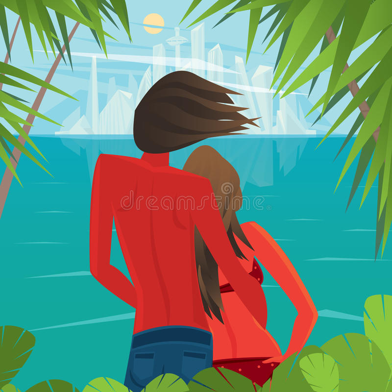 Koppla ihop på ön som långt ser en storstad stock illustrationer