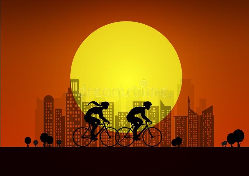 Koppla ihop på cyklar i stad illustration med konturer av av två cyklister baltisk havssolnedgång för bakgrund stock illustrationer