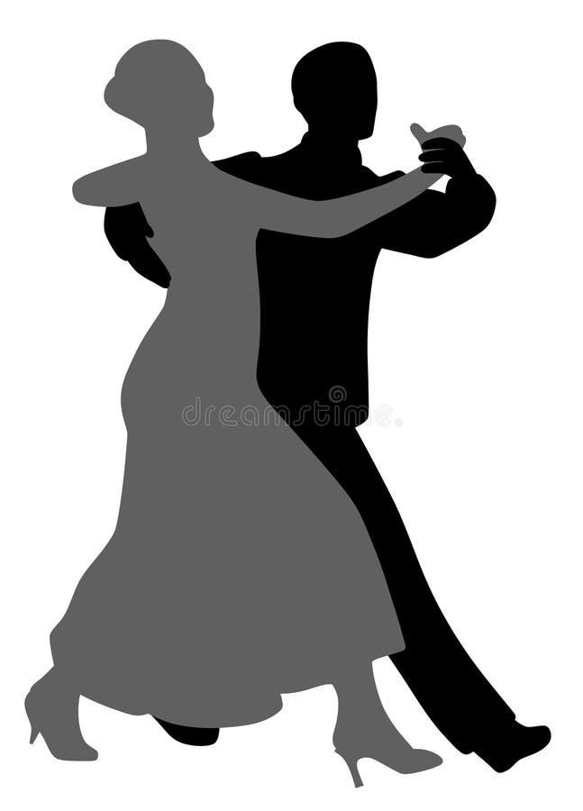Koppla ihop salsatangodansare royaltyfri illustrationer
