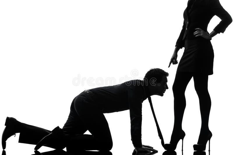 Koppla ihop silhouetten för begreppet för kvinnaseductressbindningen royaltyfria foton