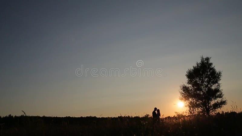 Koppla ihop staget i gräsfältet på solnedgången