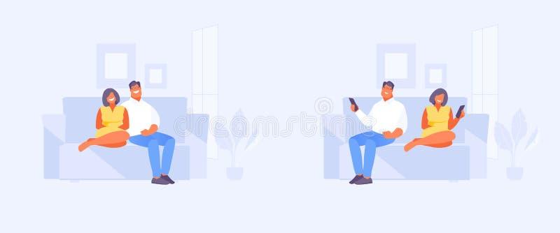 Koppla ihop tillsammans och separat vektorn stock illustrationer