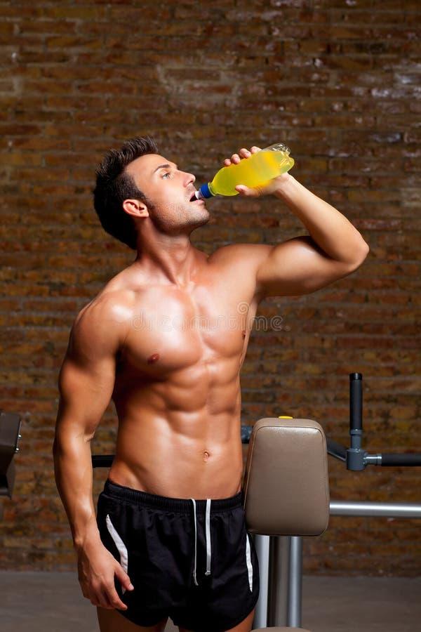 kopplad av muskel för man för drinkenergiidrottshall royaltyfri foto