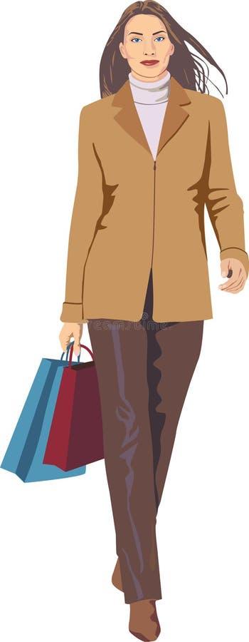 kopplad in shoppa kvinna stock illustrationer