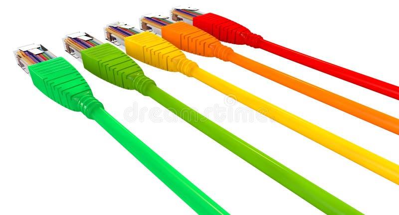 Kopplade från färger för Ethernetkablar som pekar bort slut royaltyfri illustrationer