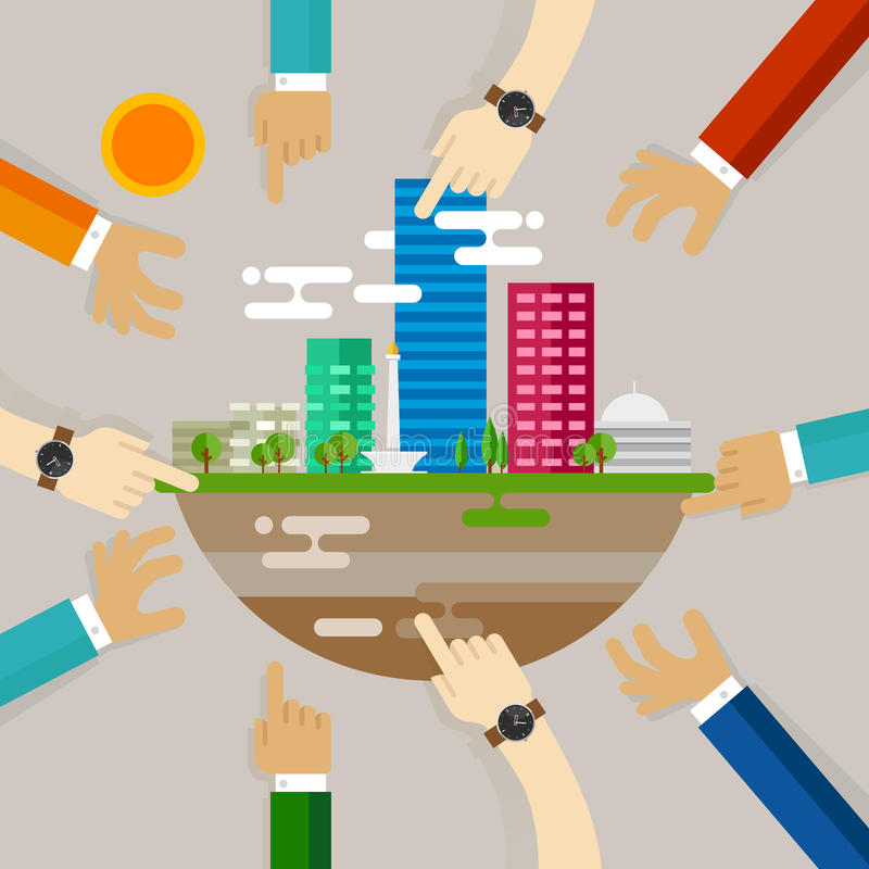 Kopplande in aktiviteter för stadsutvecklingsfolk som bygger i tillväxt för utveckling för Jakarta Indonesien cityscapeplanläggni stock illustrationer