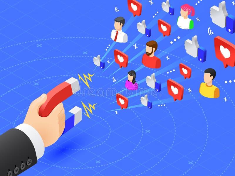 Kopplande in anhängare för marknadsföringsmagnet Det sociala massmedia gillar och följer magnetism Influencer annonserar strategi stock illustrationer