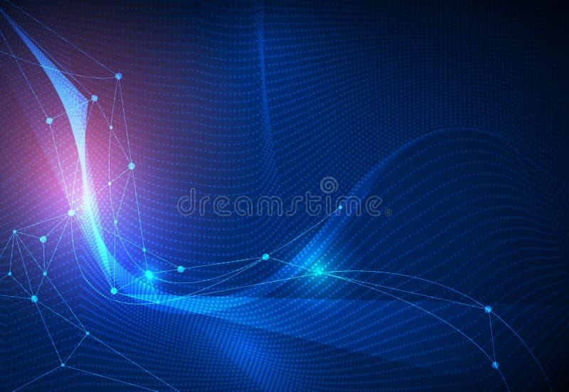 Kopplar ihop abstrakta molekylar för illustration och 3D med ljus effekt vektor illustrationer