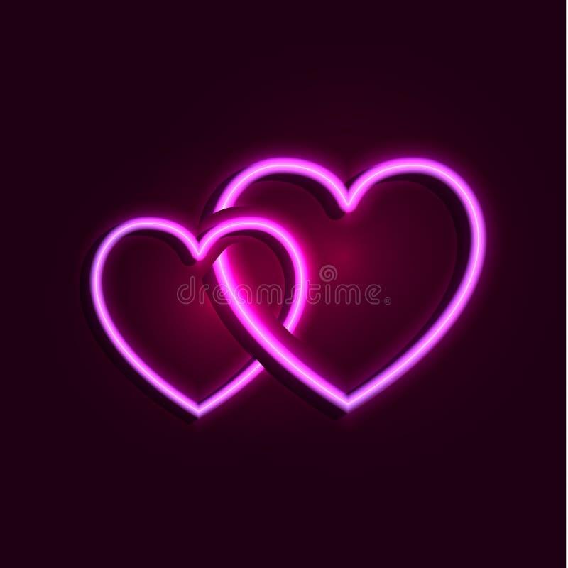 Kopplar ihop glödande rosa hjärtor för vektorn, glänsande förälskelsesymboler som isoleras royaltyfri illustrationer