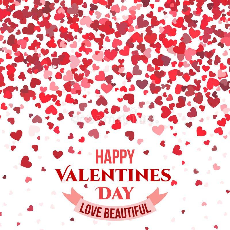 Kopplar ihop röd bakgrund för valentindagvektorn med fallande hjärtor för förälskelse kortet royaltyfri illustrationer