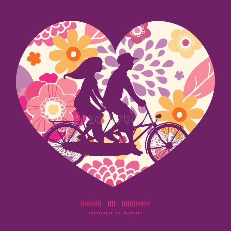 Kopplar ihop varma sommarväxter för vektor på den tandema cykeln stock illustrationer
