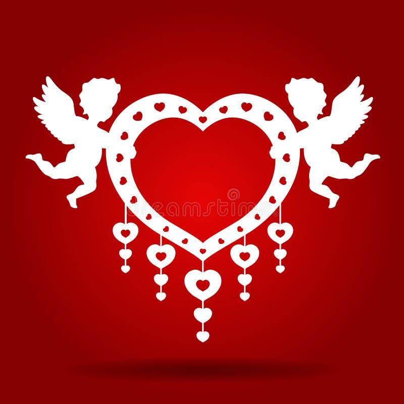 Kopplar samman kupidonhållhjärta på den röda designen för bakgrundsvektorkonst för bröllopkort royaltyfri illustrationer