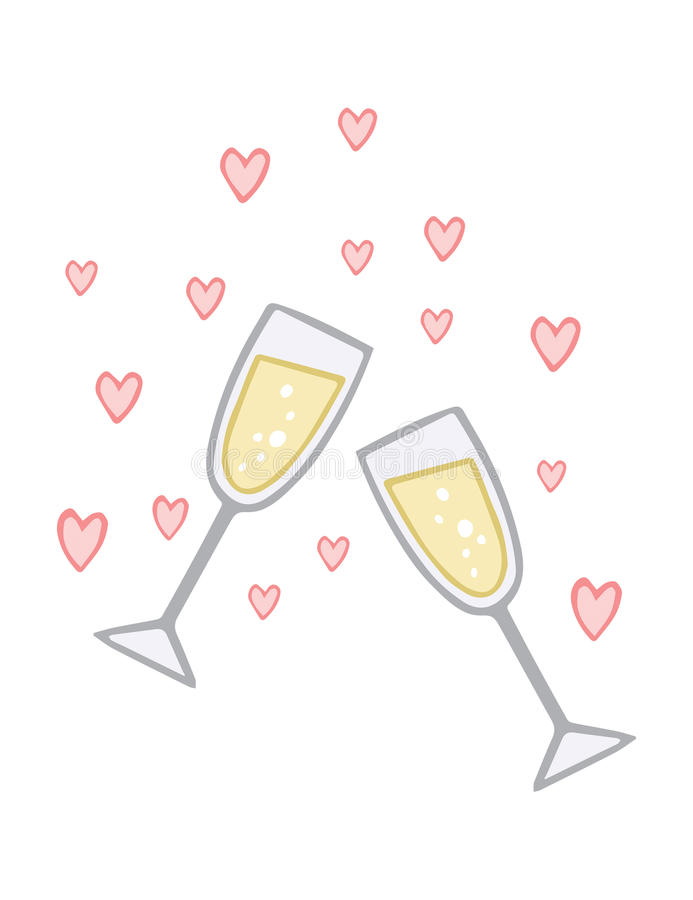 Koppling Champagne Love Toast royaltyfri illustrationer