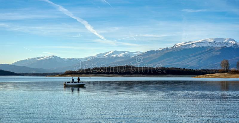 Koprinka Dam overlooking Botev Peak royalty free stock photo