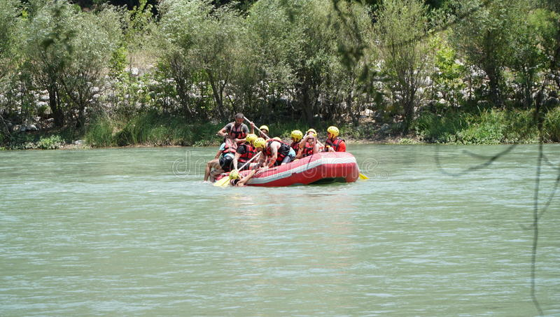 KOPRULU CANYON - TURKEY - JULY 2016: Water rafting on the rapids of river Koprucay at Koprulu Canyon, Turkey. stock photos