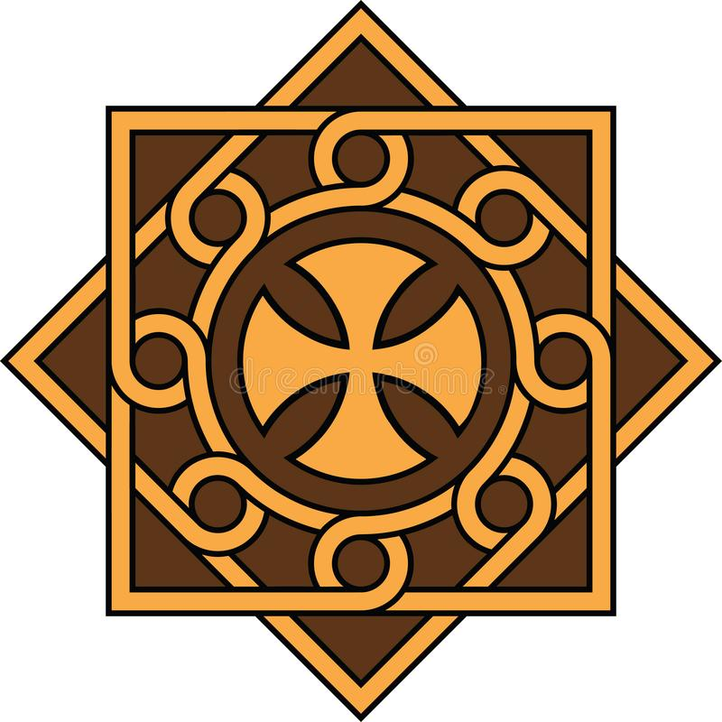 Koptisch kruis in decoratief eenheid en patroon, Hoge nauwkeurigheid, nr 21 royalty-vrije stock afbeelding