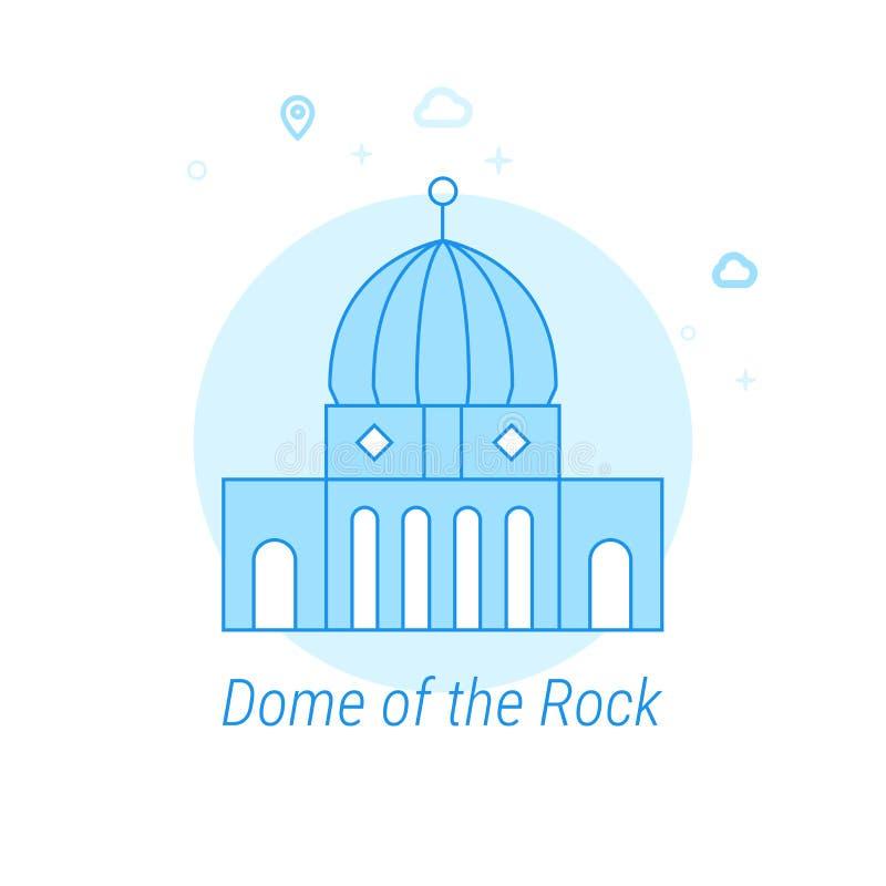 Kopuła skała, Jerozolimska Płaska Wektorowa ilustracja, ikona Bławy Monochromatyczny projekt Editable uderzenie royalty ilustracja